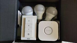 Philips Hue White E27 LED Lampe 3er Starter Kit mit Bridge und Dimmer, unbenutzt