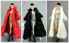 6 PCS Fashion Long Fur Coat  + dress Clothes/Outfit Gown  For 11.5in.Doll