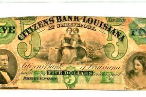 "$5 ""CITIZENS BANK"" (LOUISIANA) 1800'S ""BEAUTIFUL"" (CITIZENS)  CRISPY & ROUGH!!!!"