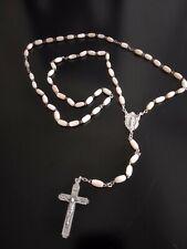 ITALIA Crocifisso Croce Nizza di madreperla Rosario Perline Collana d/'Argento Rose