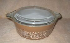 Vintage PYREX WOODLAND Round Baking Dish ~ Clear Glass Lid ~ 472 ~ 750 ml
