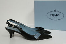 New sz 8.5 US / 38.5 Prada Logo Bow Black Leather Sling Back Pump Low Heel Shoes