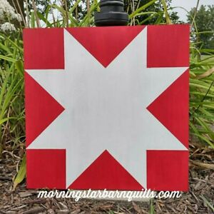 """New Rustic Wood Barn Quilt Hand Painted Red & White Star Pattern 20""""x20"""""""