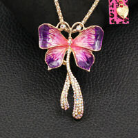 Enamel Crystal Butterfly Pendant Betsey Johnson Chain Necklace/Brooch Pin Gift