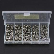 250pcs 5-Size Fishing Split Rings Double Loop Connectors Stainless Steel w/ BOX