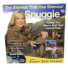 Snuggie Blanket With Sleeves Tan Super Soft Fleece Special Bonus Book Light NIB