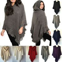 New Women Knit Batwing Top Poncho With Hood Cape Cardigan Coat Sweater Outwear