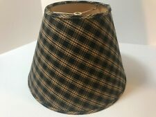 Plaid Black and Beige Fabric Lamp Shade Spider Fitter NICE!