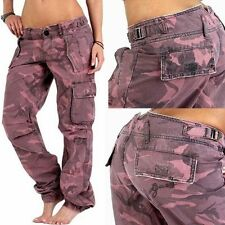 GUESS DAMEN CARGO CAMOUFLAGE ARMY HOSE JEANS PANTS 28 PINK UVP 129€ DESIGNER