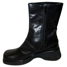 New $200 Black Leather ANKLE BOOTS - FARRUTX ITALY Sz 6 Zip-Up Shoes HAND-LACED