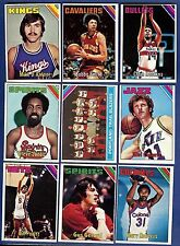 1975-76 Topps Basketball Starter Set 9 Different Cards (173-262) Ex-Mt/Nr-Mt