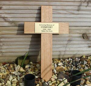 """Oak Wooden Memorial Cross 12"""" Tall - 310mm with Brass Effect Plaque - Grave Pet"""