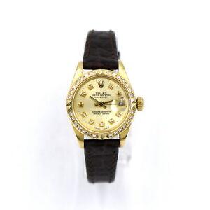 LADIES ROLEX 6917 DATEJUST PRESIDENT AUTOMATIC WRISTWATCH DIAMOND BEZEL 18K GOLD