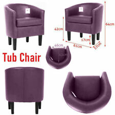 Tub Chair Armchair Sofa Home Dining Cafe Shop Chairs PU Leather Padded Seat New