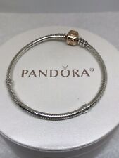 Authentic Pandora Sterling Silver W/Rose Gold Clasp Bracelet 7.1