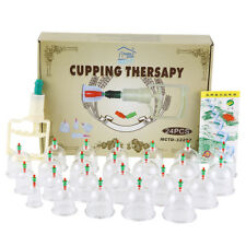 24 Cups Chinese Vacuum Body Cupping Massage Therapy Healthy Suction Set Easy Use