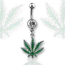 POT 420 Green Leaf Dangle BELLY Button NAVEL Steel Bar RINGS Piercing Jewelry