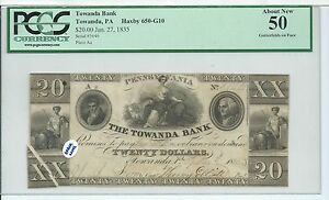 1835 Towanda Bank PA $20 Gutter ERROR Lower Left Haxby 650-G10 PCGS 50 Maid 3646