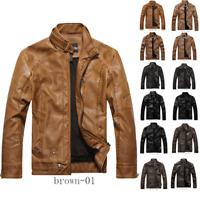 Chouyatou Men's Vintage Stand Collar Zip Faux Leather Velvet Bomber Moto Jacket