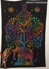 Bedspread Cotton Fabric Elephant With Tree Design Wall Hanging Tapestry Twin Art