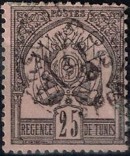 TUNISIE RARE REGENCE DE TUNIS 25c N° 5 OBLITERATION TRES LEGERE COTE 75 €