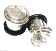 Pair-Clear Gem Steel Single Flare Ear Plugs 05mm/4 Gauge Body Jewelry