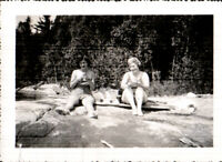 Vintage Photo  woman in bathing suits on rocks, c1940s Quebec Canada