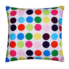 White Multi Coloured Polka Dots Silk Satin Cushion Cover for Sofa Bed