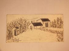 Edgard Stoebel Dessin au Crayon Hameau - Corps de Ferme