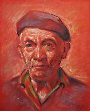 Vintage pastel painting man portrait signed