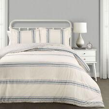 Farmhouse Stripe Comforter Blue 3Pc Set Full/Queen