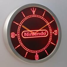 Nintendo Game Room 3D Neon Sign LED Wall Clock Home Bar Decor Man Cave Gift Red