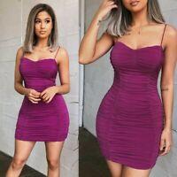 Women's Sexy Slim Mini Dress Lady Bodycon Nightclub Ball Gown Sling Ruched Dress