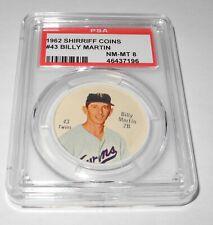 1962 Shirriff Canadian Baseball Coin #43 Billy Martin Twins Salada PSA 8 NM-MT