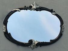 Espejo de Pared Barroco Oval Negro Plata 52x42 baño Vintage Antiguo Retro C17