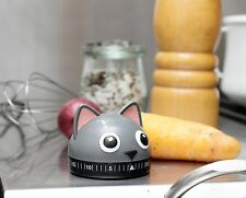 Kikkerland Cat Kitchen Wind Up Egg Timer 60 Minute Countdown Kitchen Clock
