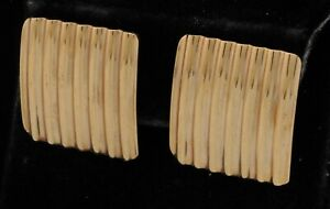 Vintage 14K yellow gold elegant square shaped clip-on earrings