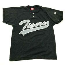 VINTAGE Wilson Tigers Baseball Jersey Youth Size Medium YM Black Shirt Henley