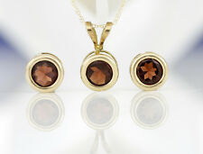 10K Solid Gold Garnet Pendant & Chain and Earrings Fine Jewelry Set