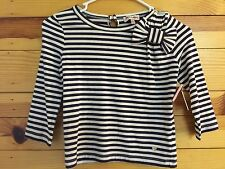 """""""NWT JUICY COUTURE"""" Girls Blackberry Autumn Striped 3/4 Sleeve Top Size M 6/7"""