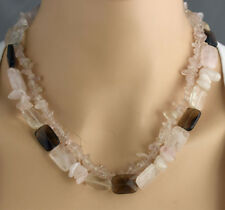 Rose Quartz and Smoky Quartz & Clear Quartz Double Strand Necklace