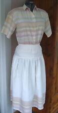 Vtg Chez T Made in Kenya L 100% Cotton Skirt SS Blouse Woven Stripe Design Set