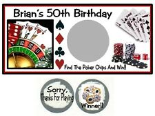 10 Casino Night Poker Cards Birthday Party Scratch Off Game Lottery Tickets