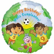 "Dora the Explorer Happy Birthday soccer 18"" Balloon Feliz Cumpleanos foil"