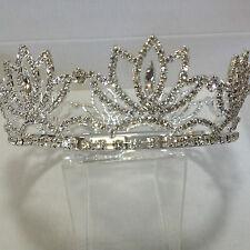 Aleación De Plata Grande Diamante Cristal Corona Corona Tiara con detalle floral