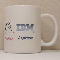 Vintage IBM Experience White & Blue Stripe Coffee Mug Tea Cup Computer