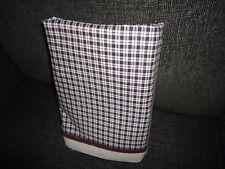 TOMMY HILFIGER BLUE RED PLAID TATTERSAL TWIN FLAT SHEET 100% COTTON BOYS 62 X 92