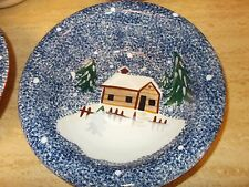 2 - Holiday Mountain Lodge  by Livingquarts  soup/salad bowl ( blue/ white),new