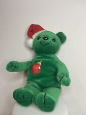 Vtg Green Gibson Teddy Bear beanie Plush Toy Christmas Holiday
