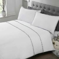 POM PLEATS WHITE GREY COTTON BLEND SINGLE DUVET COVER